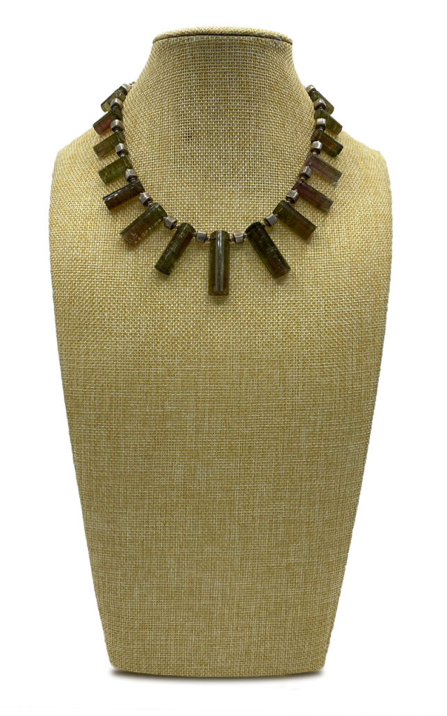 Olive You Watermelon Tourmaline Collar Necklace