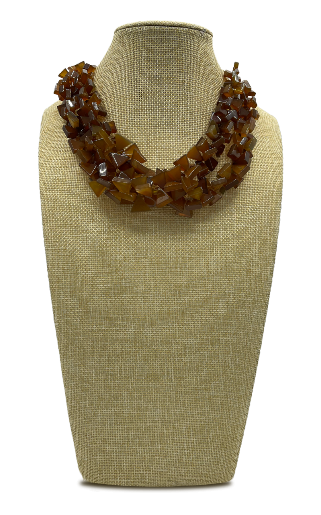 Coffee Oasis Multi-Strand Orange Jade Necklace