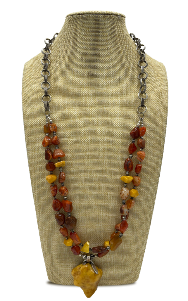 Butterscotch Amber and Carnelian Pendant Necklace