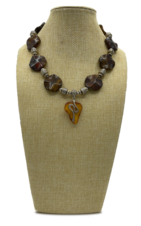 Into Africa Coin Jasper and Amber Pendant Necklace