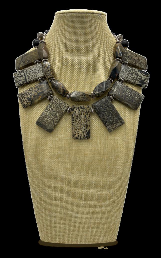 Wildlife 2-Strand Leopard Jasper Collar Necklace