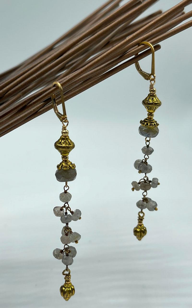 Delicate Labradorite & Gold Drop Earrrings