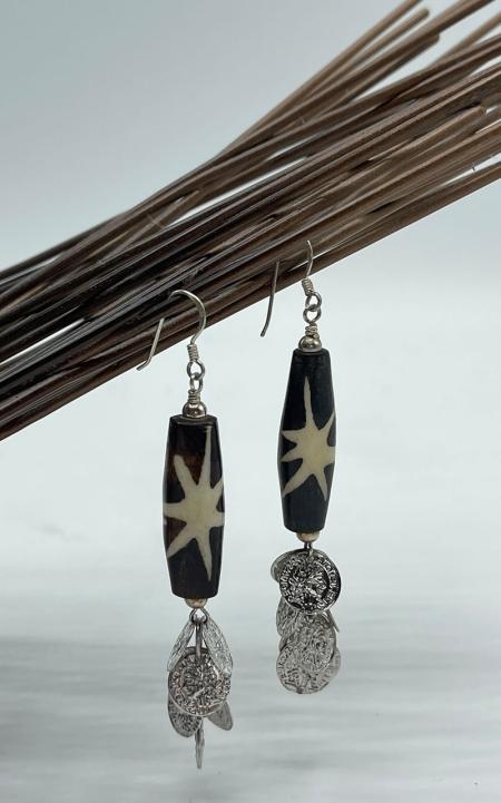Batik Bone Stacked Statement Earrings