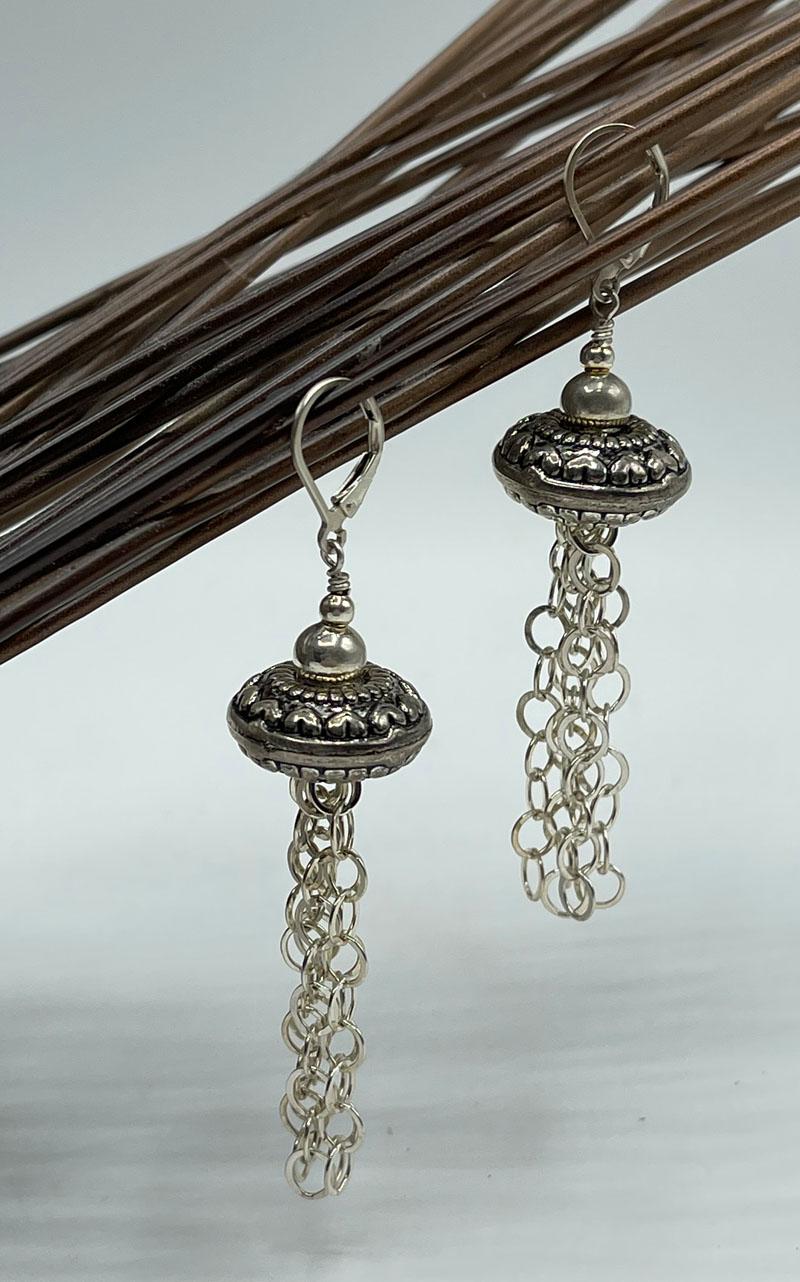 Silver Fringe Statement Earrings