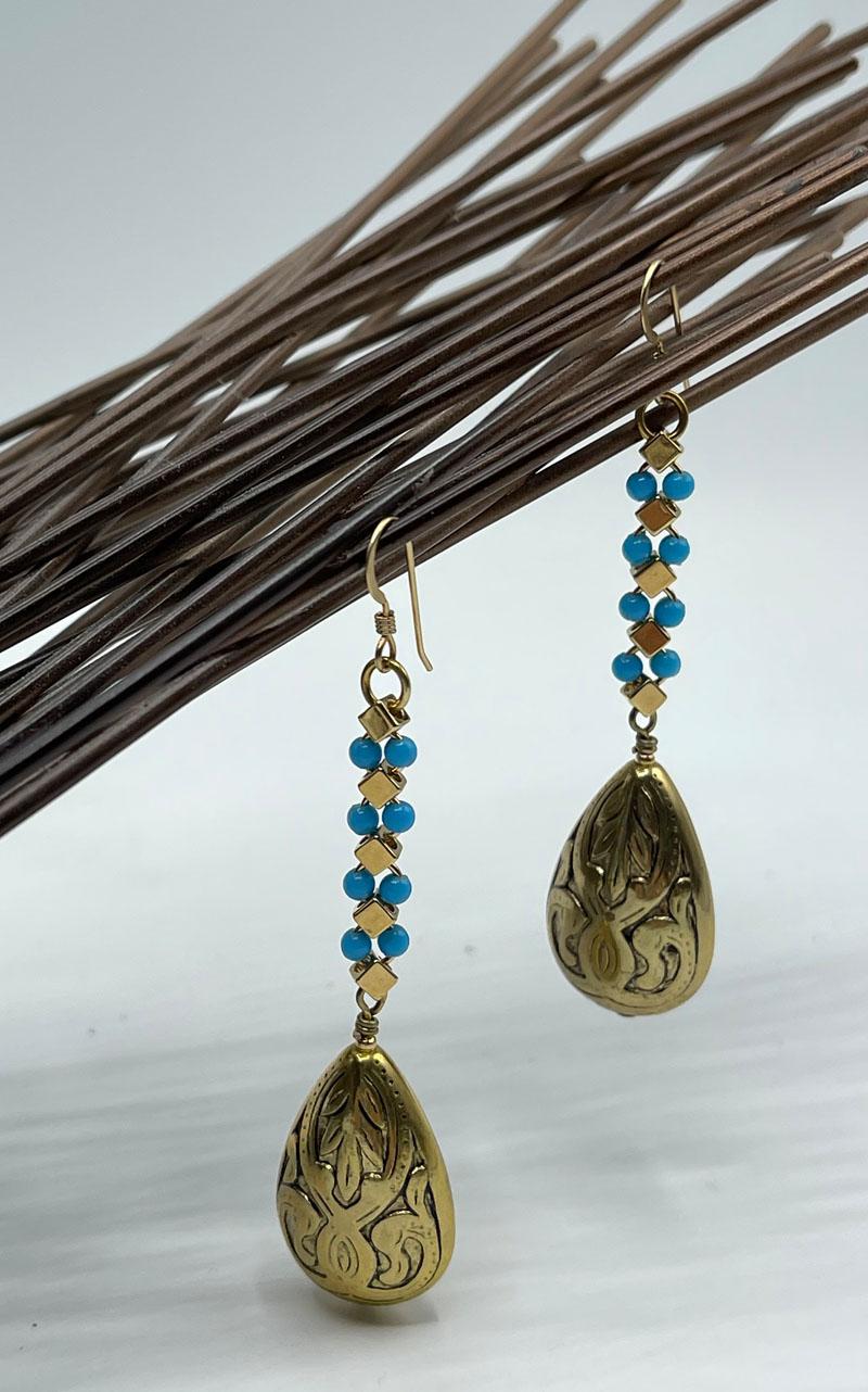 Art Deco Turquoise  Teardrop Earrings