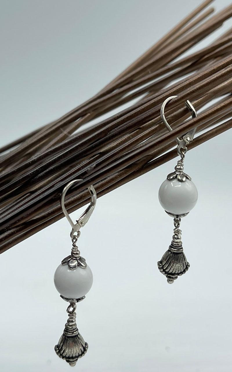 White Agate Drop Earrings