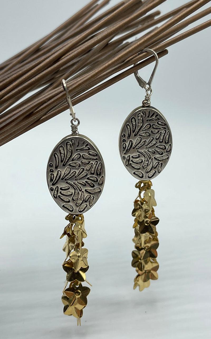 Lift Off Electroplated Metal Tassel Earrings
