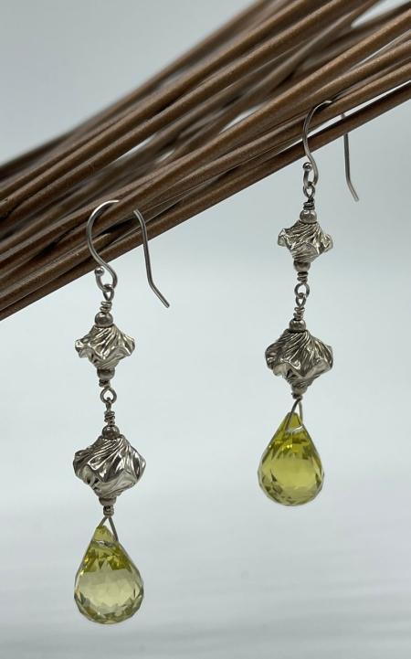 Crinkled Silver & Faceted Citrine Drop Earrings