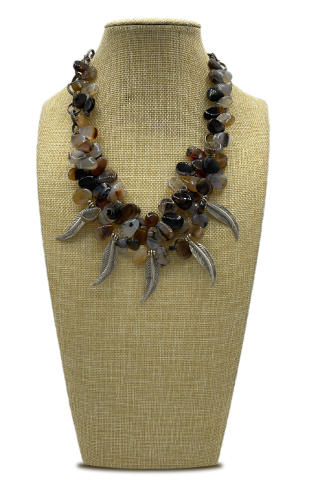 Feather Charm & Agate Layered Necklace