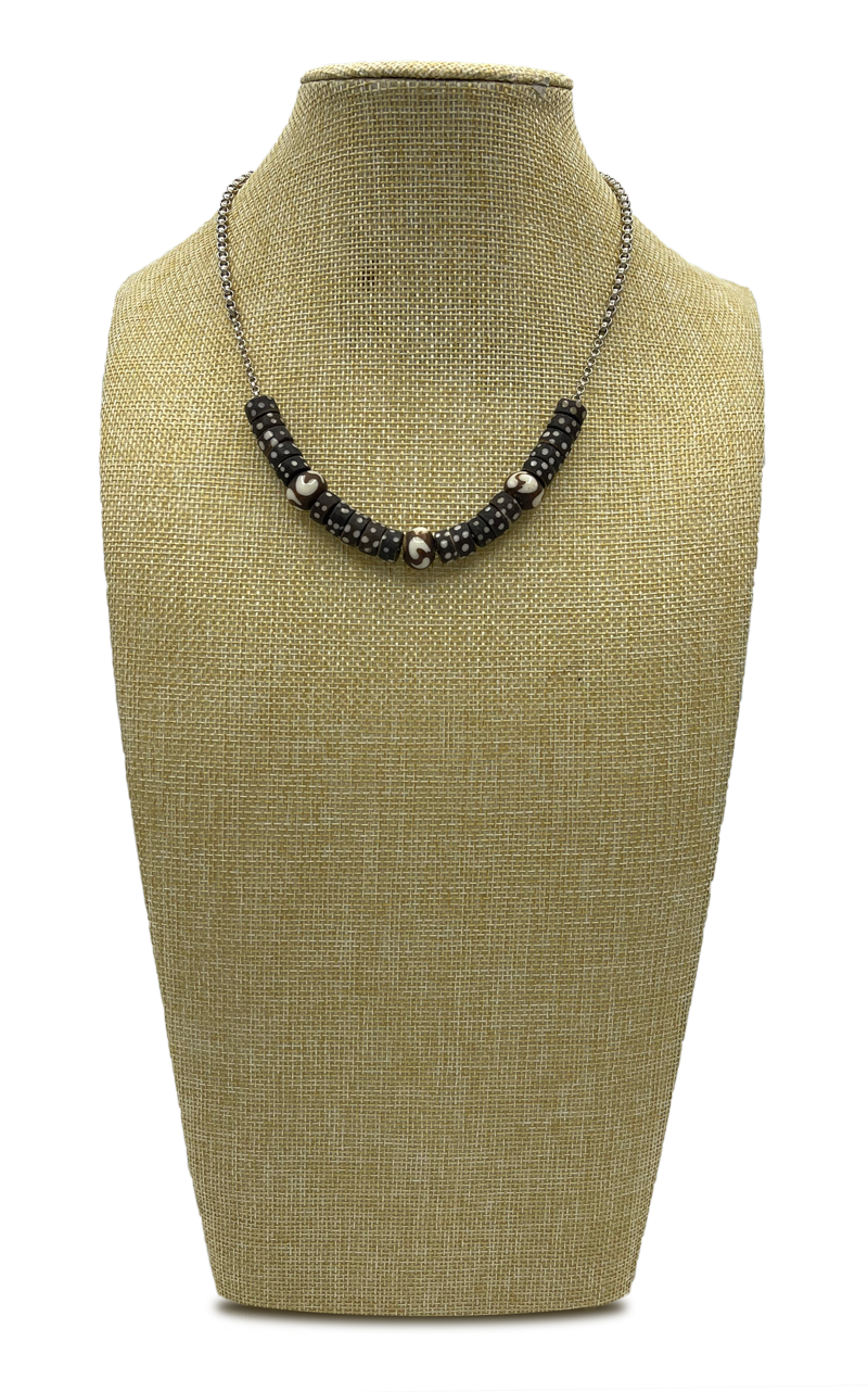 Compass Wood African Beads and Sterling Chain Necklace