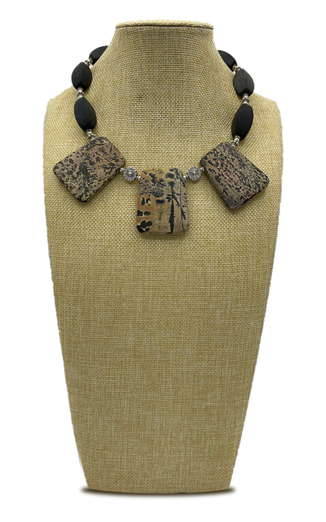 Safari Leopard Jasper & Black Stone Collar Necklace