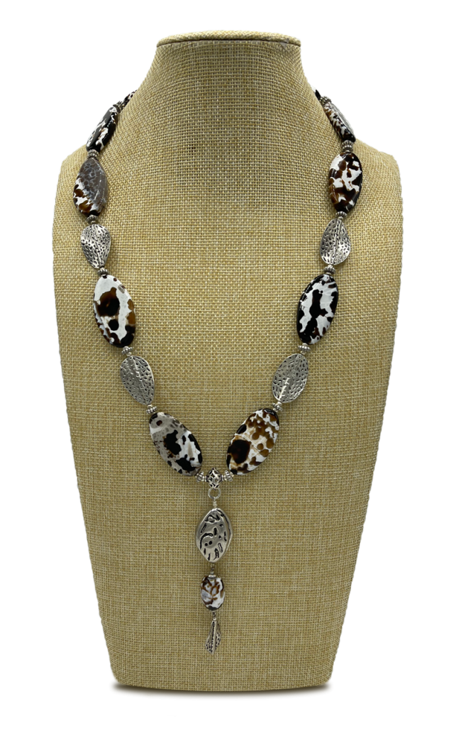 Drover' Long Black and White Agate Necklace