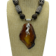 Fire' Baltic Amber Pendant and Tibetan Wood Necklace