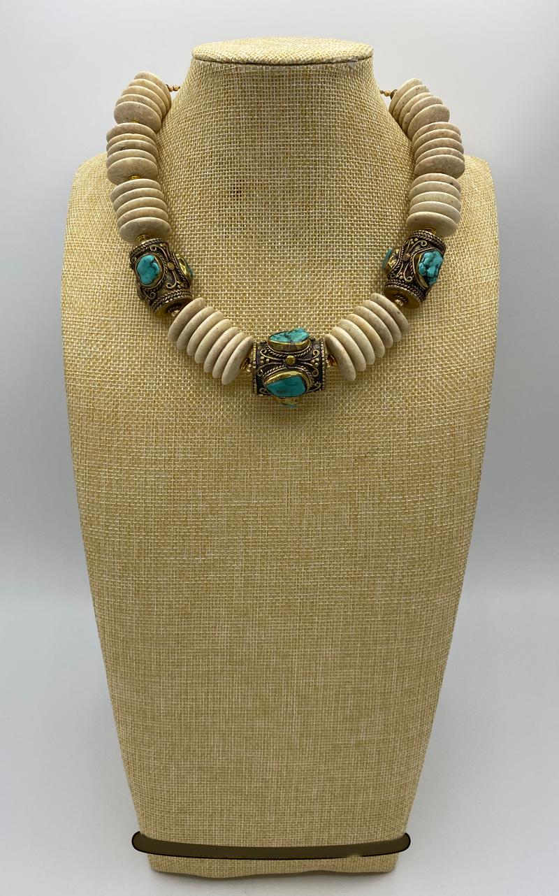 Pharaoh Fossilized Agate & Vintage Tibetan Turquoise Beads