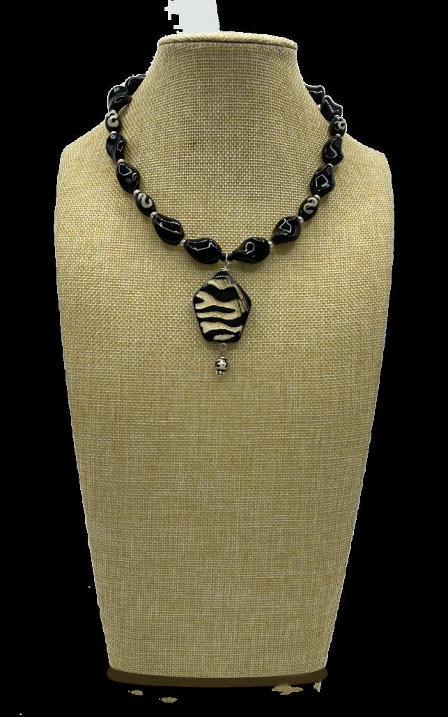 Tribal Vacay Black Onyx & Wood Pendant Necklace
