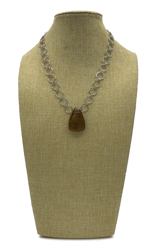 Sand Sterling Silver Cable Necklace with Rutilated Quartz Pendant