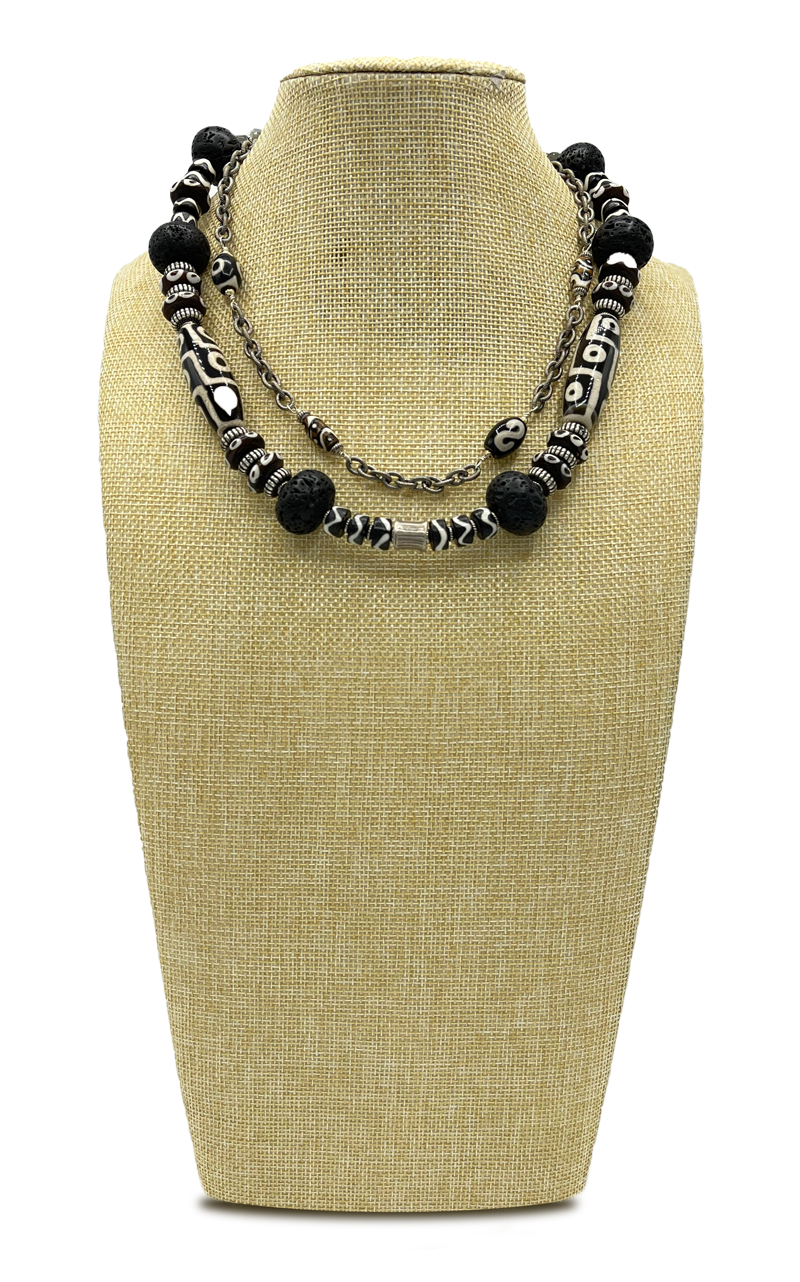 Wild' Coral, Labradorite and African Beaded Necklace
