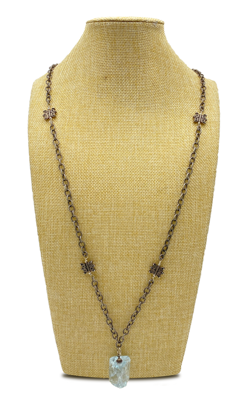 Long Antique Finish Cable Plated Chain Necklace with Natural Aquamarine Gemstone Pendant