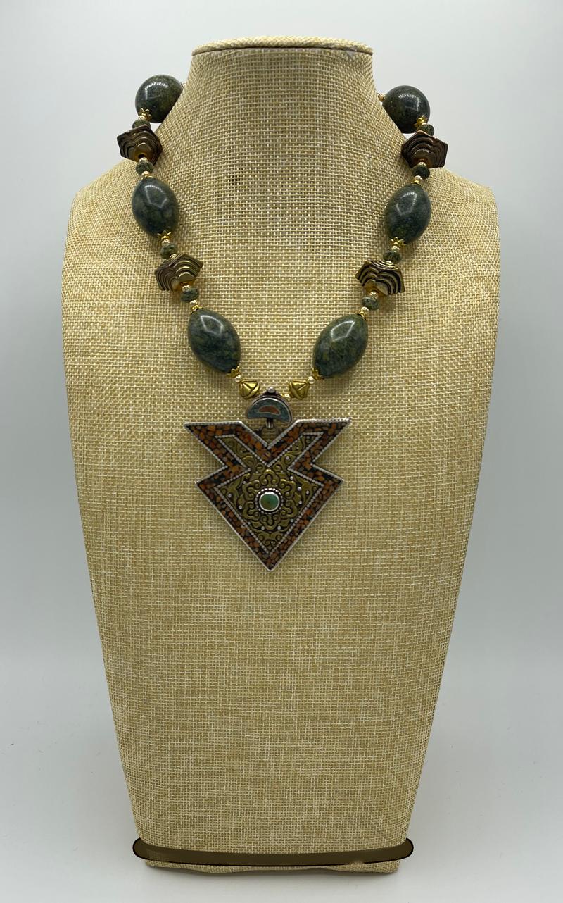 Russian Serpantine and Tibetan Vintage Pendant Necklace