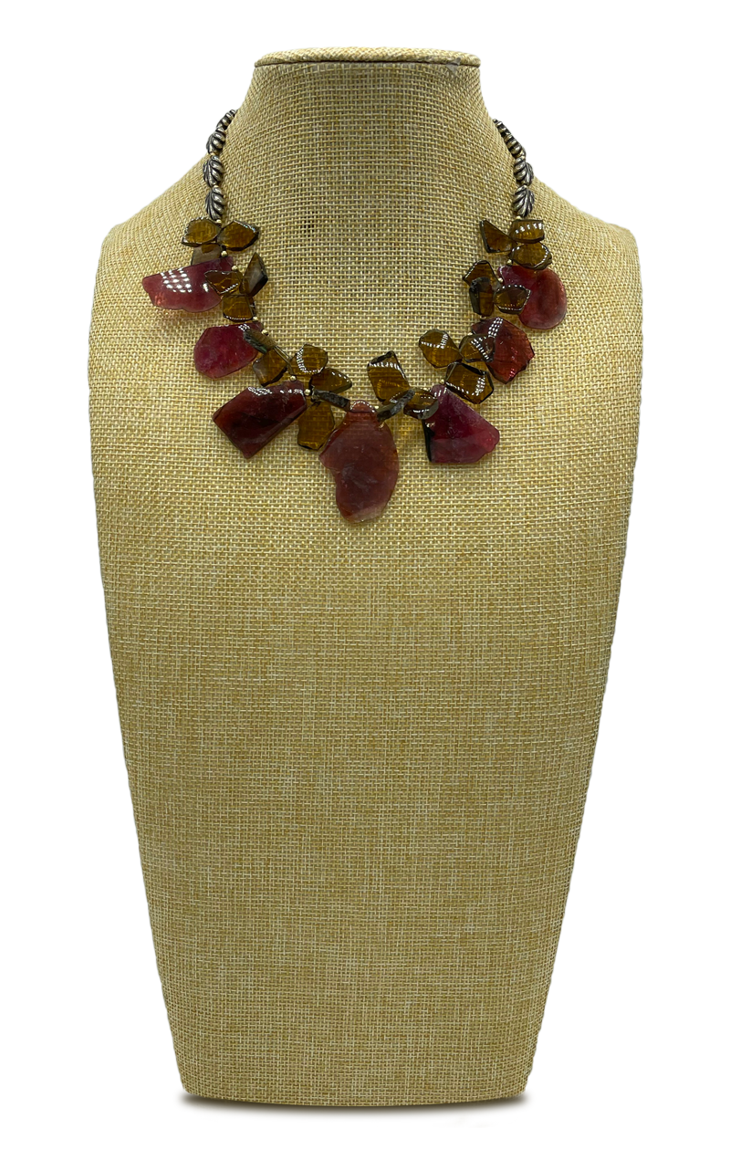 Slices of Tourmaline Collar Necklace